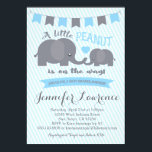 "Blue Boy Peanut Elephant Baby Shower invitation<br><div class=""desc"">Colors can be changed and matching party items and thank you cards can be made. For more information,  email seasidepapercompany@gmail.com some clipart designed by freepik.</div>"