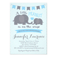 Baby elephant invitations zazzle blue boy peanut elephant baby shower invitation filmwisefo