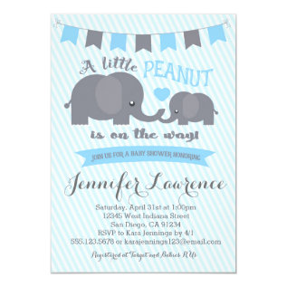 Blue Boy Peanut Elephant Baby Shower invitation at Zazzle