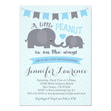 seasidepapercompany Blue Boy Peanut Elephant Baby Shower invitation