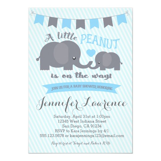 blue boy peanut elephant baby shower invitation zazzle