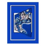 blue boy runnin' (vert frame) post card