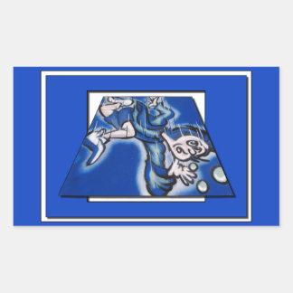 blue boy runnin' (vert frame) rectangular sticker