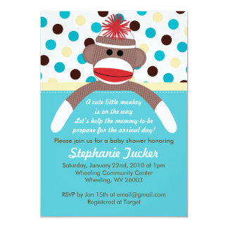 Blue Boy Sock Monkey Baby Shower Invitation