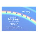 "Blue Boy Umbrellas and Drops 5"" X 7"" Invitation Card"