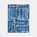 Blue Boy's All-over Name Collage Personalized Fleece Blanket