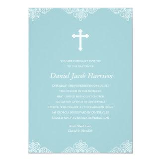 Blue Boys Baptism/Christening 5x7 Paper Invitation Card