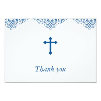 Blue Boys Baptism/Christening Thank You Card