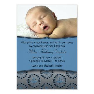 Blue Boys Photo Birth Announcement