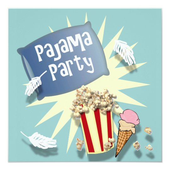 Blue Boys Sleepover Pajama Party Invitation Zazzle Com