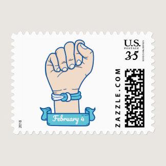Blue bracelet illustration Men Cancer awareness Postage