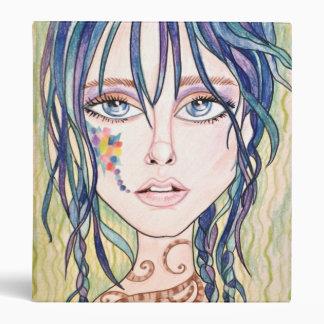 Blue Braid Fantasy Woman's Face Ring Binder