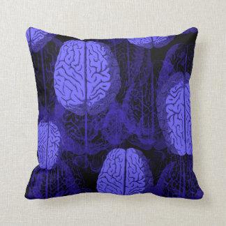 Blue Brains! Throw Pillows