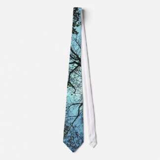 Blue Branch Abstract Tie