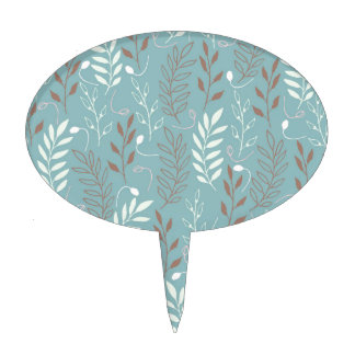 Blue Branches and Leaves Background Cake Topper