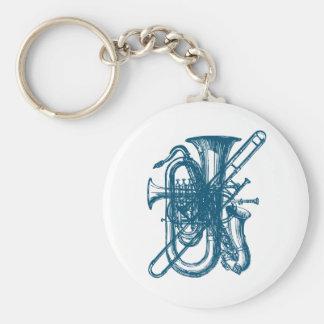 Blue Brass & Sax Basic Round Button Keychain
