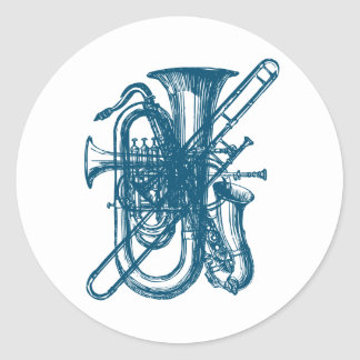 Blue Brass & Sax Classic Round Sticker