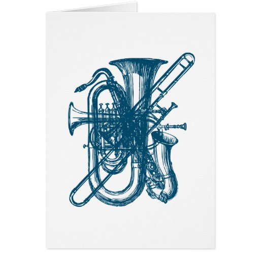 Blue Brass & Sax Greeting Card