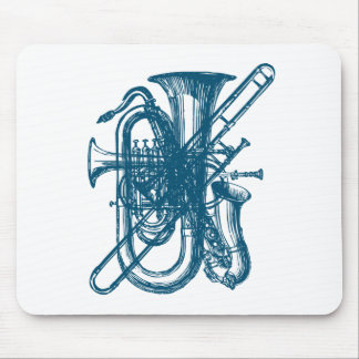 Blue Brass & Sax Mouse Pad