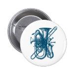 Blue Brass & Sax Pinback Button