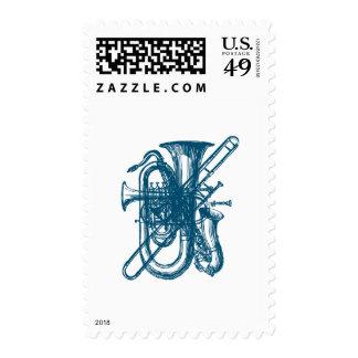 Blue Brass & Sax Postage