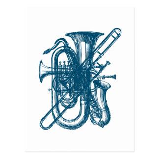 Blue Brass & Sax Postcard