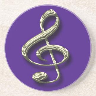 Blue & Brass Treble Clef Music Coaster