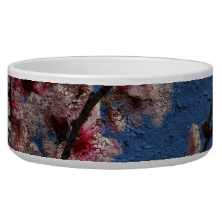 Blue Brick and Blossoms Pet Bowl