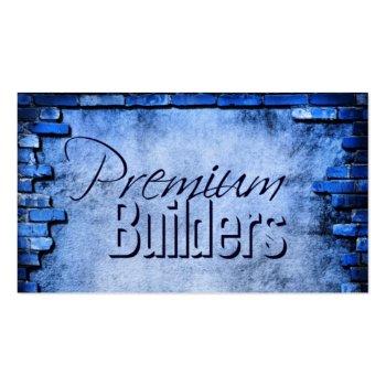 blue brick construction card -contact to customize business card template