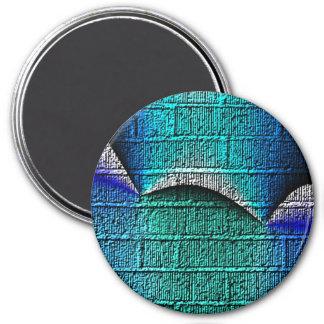 Blue brick pattern 3 inch round magnet