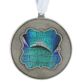 Blue brick pattern scalloped pewter ornament