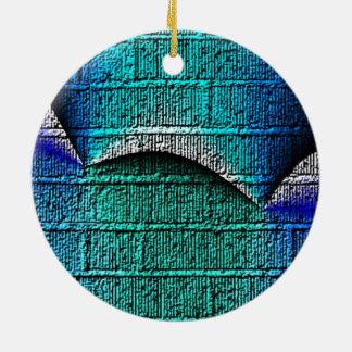 Blue brick pattern ornaments