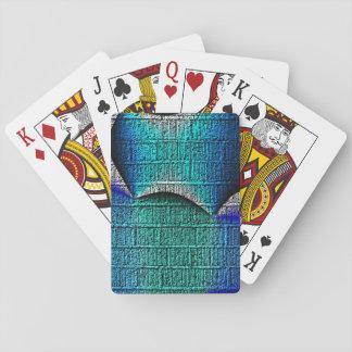 Blue brick pattern playing cards