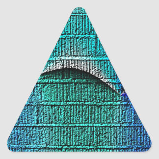 Blue brick pattern triangle sticker