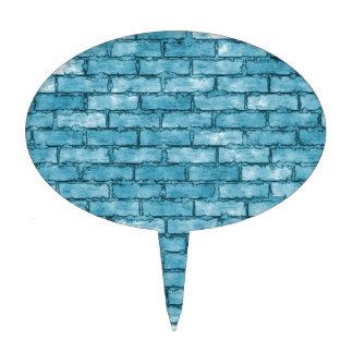 Blue Brick Wall Cake Topper