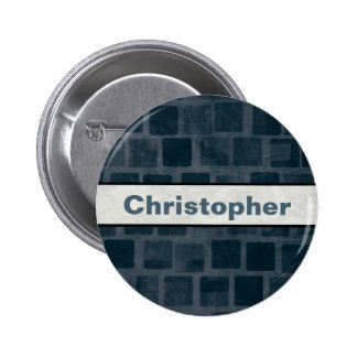Blue Brick Wall Personalized Button