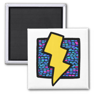 Blue Bricks Lightning Bolt 2 Inch Square Magnet