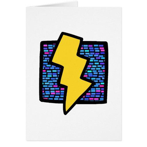 Blue Bricks Lightning Bolt Card