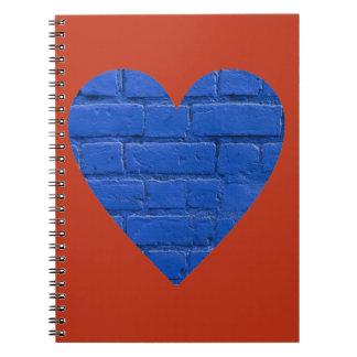 Blue Bricks on Red Heart Notebook
