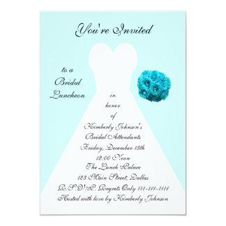 "Blue Bridal Luncheon Invitation -- Bridal Gown 5"" X 7"" Invitation Card"