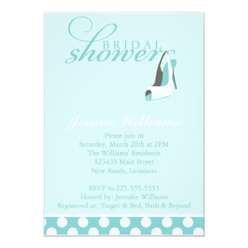 Blue Bridal Shower 5x7 Paper Invitation Card