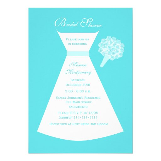 Blue Bridal Shower Invitation, Bridal Gown on Blue Invite
