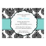 Blue Bridal Shower Invitations Damask
