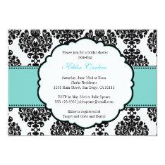 Blue Bridal Shower Invitations Damask at Zazzle