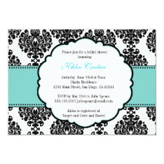 Blue Bridal Shower Invitations Damask at Zazzle