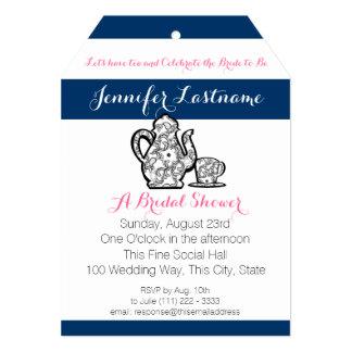 "Blue Bridal Tea Party with Color Choice 5"" X 7"" Invitation Card"