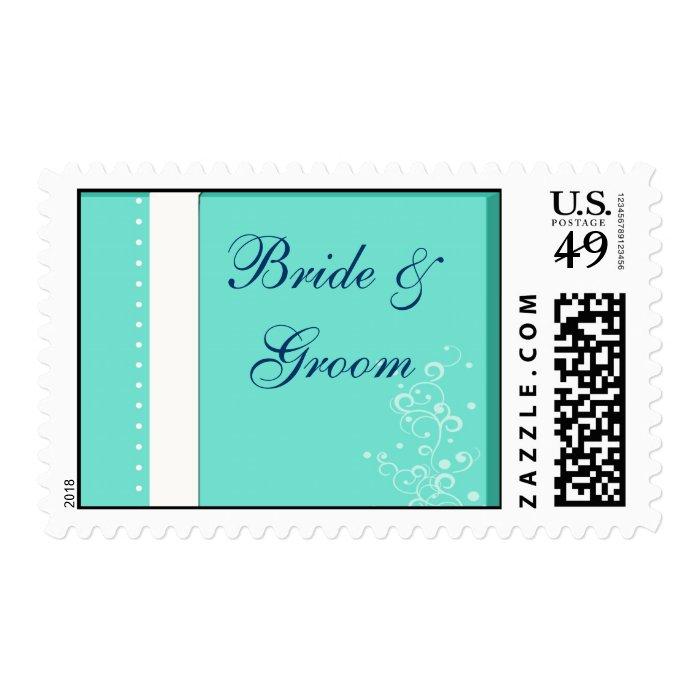 blue ... bride and groom postage stamp