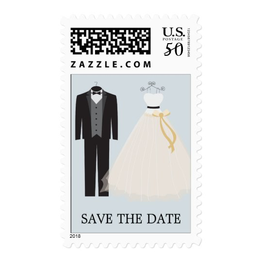 BLUE BRIDE AND GROOM | SAVE THE DATE POSTAGE