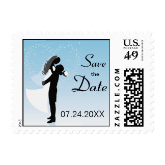 Blue Bride And Groom Silhouette Save The Date Postage Stamps