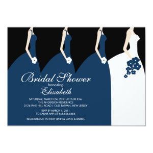 Blue Bride Bridesmaids Bridal Shower Invitation